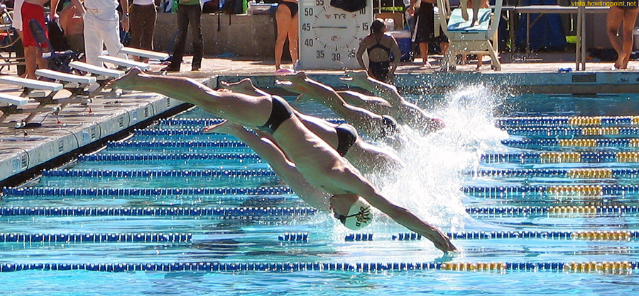 Race is on: UCSD and Utah swimmers starting a heat.
